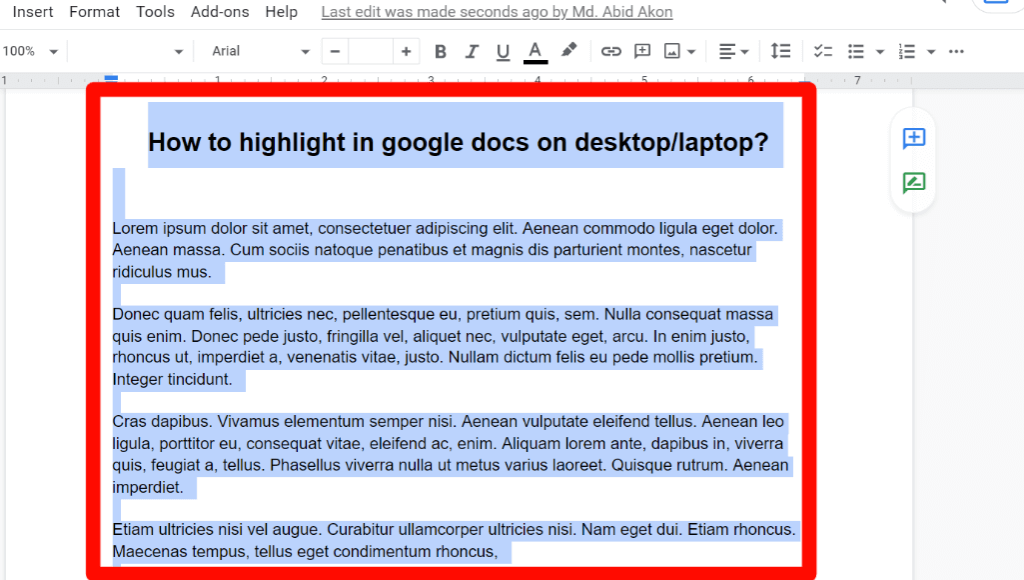 step 1 of all text highlight process on google docs