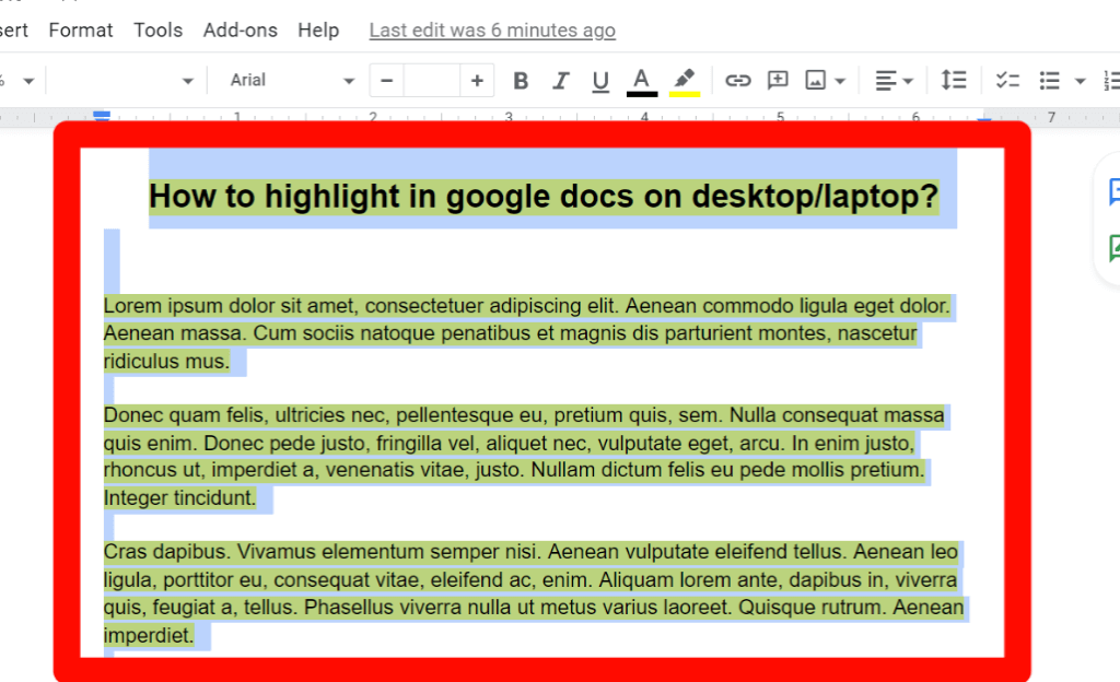 step 1 for How to change the highlight color in google docs