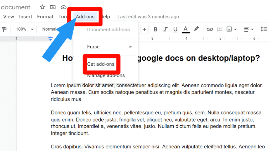 step 1 for How to highlight in Google Docs using the highlight tool