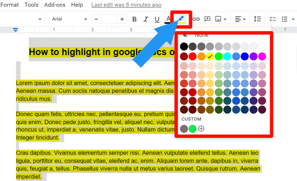 step 2 for How to change the highlight color in google docs