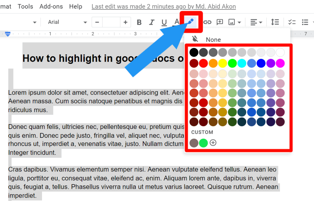 step 2 of all text highlight process on google docs