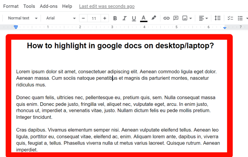 Step 3 for how to remove highlight color in google docs