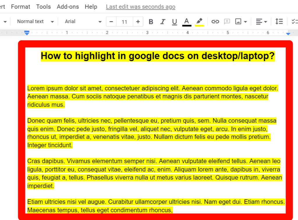 step 3 of all text highlight process on google docs