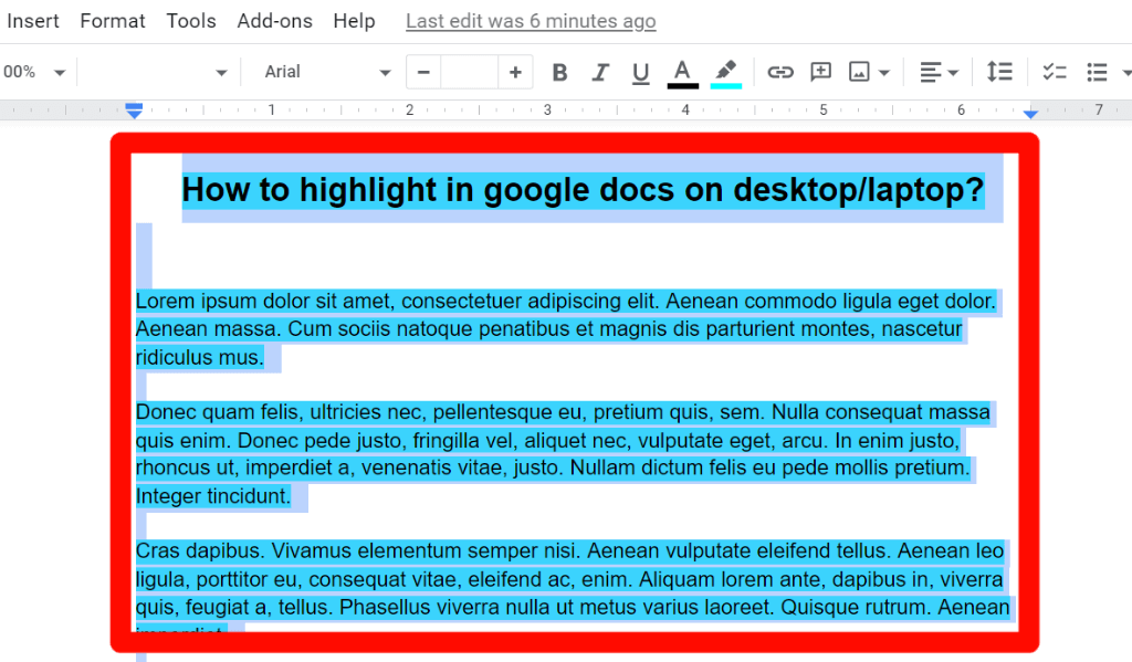 step 3 for How to change the highlight color in google docs