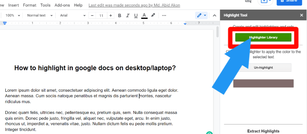 step 5 for How to highlight in Google Docs using the highlight tool