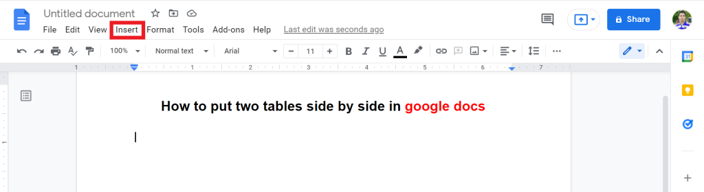 1 how to put two tables side by side in google docs