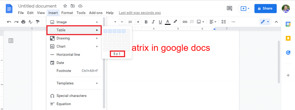 2 How to make a matrix in google docs
