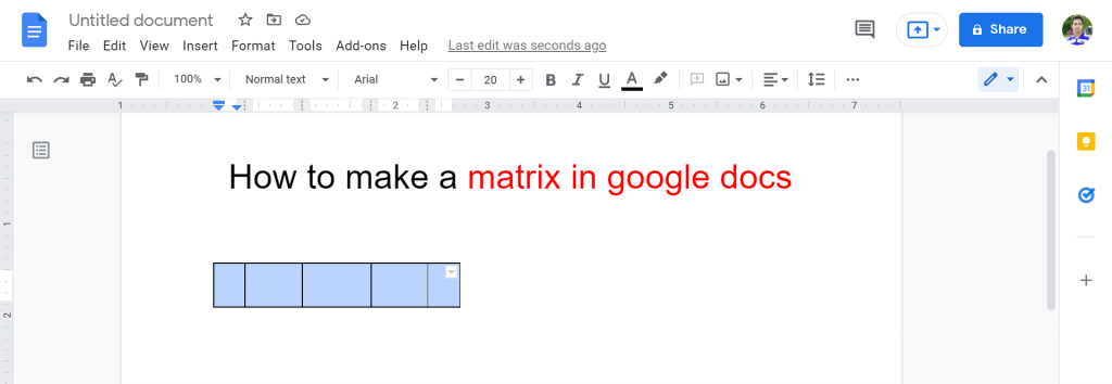 4 How to make a matrix in google docs