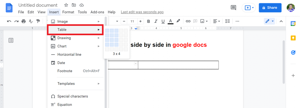 4 how to put two tables side by side in google docs