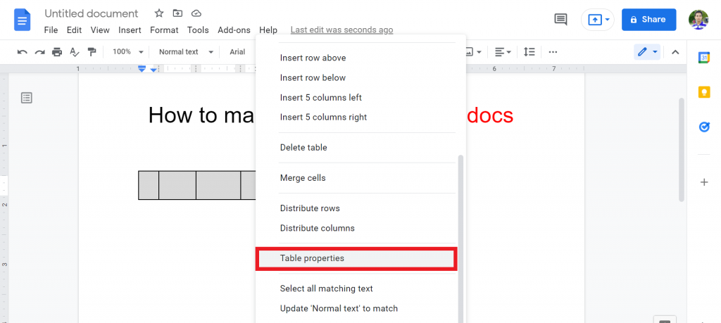 5 How to make a matrix in google docs
