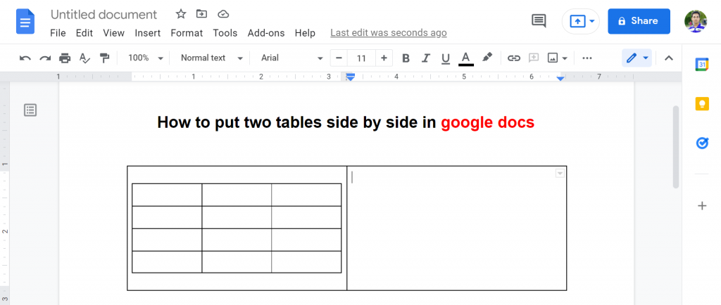 5 how to put two tables side by side in google docs