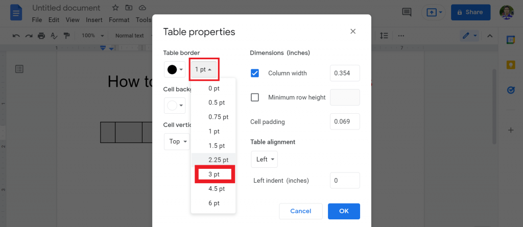 6 How to make a matrix in google docs
