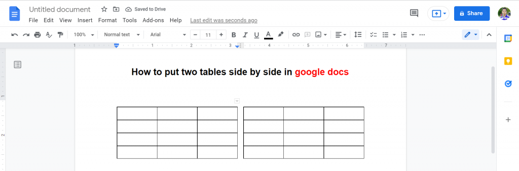 9 how to put two tables side by side in google docs
