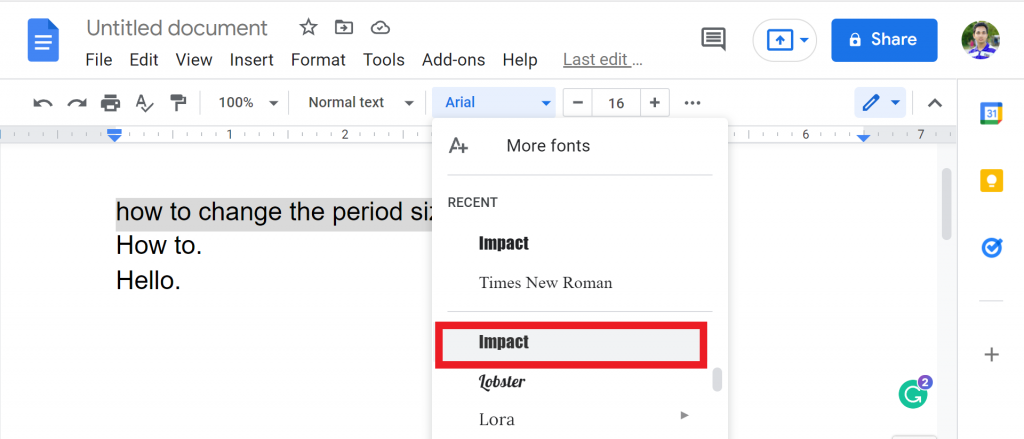 step 2 for Method 2 Change the Font